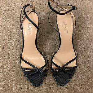Ann Taylor Loft Black Leather Strappy Sandals